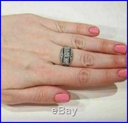 Sapphire Vintage Art Deco Engagement Wedding Ring 4Ct Diamond Ring 14K Gold Over