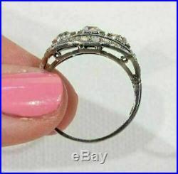 Sapphire Vintage Art Deco Ring 4Ct Diamond Engagement Wedding Ring 14K Gold Over