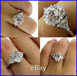 Shy 4.00ct Vintage Estate Oval Diamond Engagement Wedding Ring 3 Stone Platinum