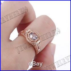 Solid 10K Rose Gold 6mm Round Morganite Engagement Wedding Vintage Antique Ring