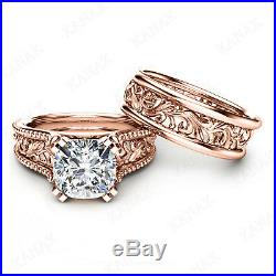 Solid 10k Rose Gold 3 Ct Diamond Cushion Cut Vintage Engagement Ring Bridal Set