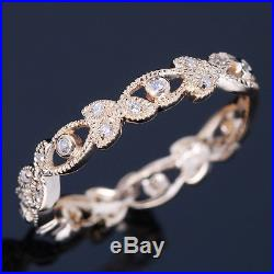 Solid 10k Yellow Gold Art Wedding Band Vintage Antique Estate Diamond Ring