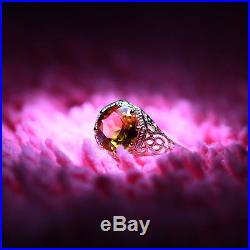 Solid 14K Yellow Gold Pave 1.5Carat Citrine Ring Vintage Antique 1930s Wedding