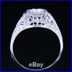 Solid 14k White Gold Wedding Vintage Filigree Semi Mount Setting Ring 5mm Round