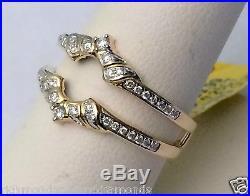 Solitaire Enhancer Round Diamond Ring Guard Wrap 14k Yellow Gold Wedding Vintage