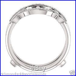 Solitaire Enhancer Round Diamonds Ring Guard Wrap 14k White Gold Wedding Vintage