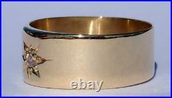 Sparkling Antique Art Deco 18K Gold Diamond Star Wedding Band Ring 1918 Sz 11.5