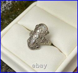 Spiderweb Filigree Vintage Art Deco Wedding Ring 14K White Gold Over 1Ct Diamond