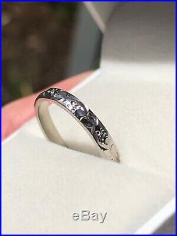 Stuller Vintage Floral Wedding Band 14k White Gold Stacking Stackable Ring 2.8mm