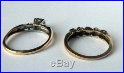 Sweet Vintage 14K Gold Diamond Flowers Engagement Wedding Ring Band Set 2 Pc