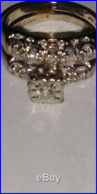 Timeless Vintage-Style 14K White Gold and Diamonds Wedding Ring Set Size 5.5