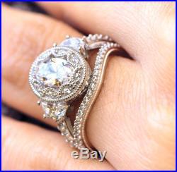 Unique 2.65Ct Vintage Art Deco Oval Cut Wedding Ring Set In 14K White Gold