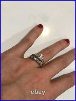 Unique zig zag Vintage MCM 14K White GOLD DIAMOND 2-Piece Wedding Ring/Band Set
