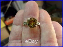 VERY RARE VTG ANTIQUE LADIES 10K GOLD WEDDING RING, Lg YELLOW SAPPHIRE + DIAMOND