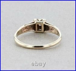 VINTAGE 14K DIAMOND ENGAGEMENT WEDDING RING SIZE 7- 1940-1950's