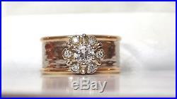 VINTAGE 14K GOLD GENUINE NATURAL signed EDITH DIAMOND WEDDING BAND RING HALO