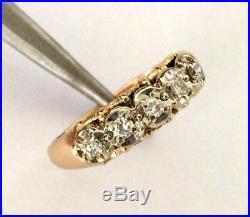 VINTAGE 14K YELLOW GOLD NATURAL DIAMOND WOMEN'S RING LADIES WEDDING BAND Sz 6