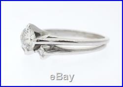 VINTAGE 14k White Gold. 71ct Round BrilliantDiamond Bridal Ring Set Size 6