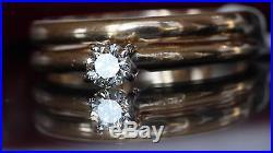 VINTAGE 14kt Y/ GOLD. 25ct G-VVS NATURAL DIAMOND WEDDING RING SET 3.2gr sz5.5