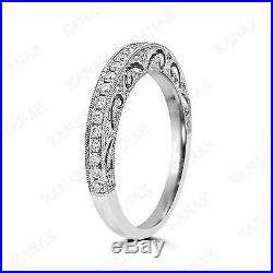 VINTAGE ART DECO Natural Diamond 14k White Gold Wedding Band Ring