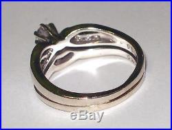 Vintage Solid 14k Gold Diamond Engagement Wedding Ring Set Very Nice Diamonds