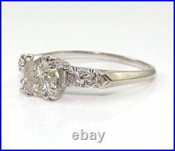 VTG 1.00ct Diamond Center Wedding Engagement 14K White Gold Ring Size 8.25 LJA2