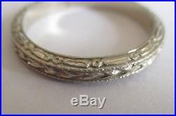 VTG ANTIQUE ART DECO ORNATE 14K WHITE GOLD ETERNITY WEDDING BAND RING Size 5.5