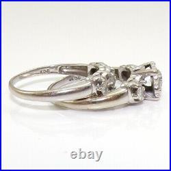 VTG Antique 0.85ctw Diamond Engagement Wedding Set 14K White Gold Ring Sz 8 LJE2