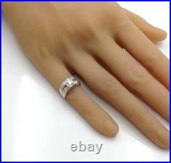 VTG Antique VS 0.45ctw Diamond Engagement Wedding Set 14K White Gold Ring Size 4