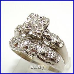 VTG Antique VS Diamond Engagement Wedding Set 14K White Gold Ring Size 5 LJF2