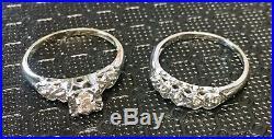 VTG Lovebright 14k White Gold Diamond Engagement Wedding Ring Set 5 Grams SZ 7
