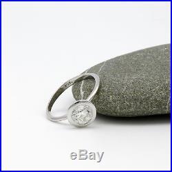 Vvs1 Vintage Style Diamond Round Brilliant Ring Wedding 14k White Gold Solitaire