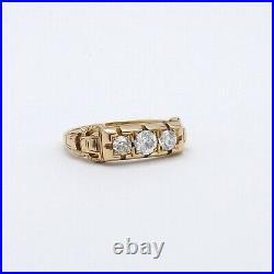 Victorian 14k Gold 3 Stone Diamond Wedding Anniversary Band Ring