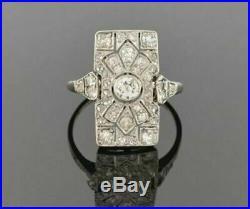Victorian Edwardian Ring Vintage Wedding Ring 2 Ct Diamond 14K White Gold Plated