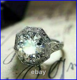 Victorian Engagement Wedding Filigree Ring 14K White Gold Over 2.54 Ct Diamond