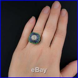 Victorian Engagement Wedding Ring Vintage 2.1Ct Diamond & Sapphire 14K Gold Over