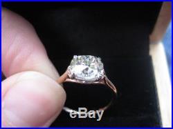 Vintage 10K Rose Gold 2.00Ct Cushion Cut Diamond Engagement Wedding Ring