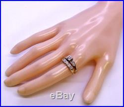 Vintage 10K Solid Yellow Gold Round Diamond Wedding Ring & Band Set Size 6.75