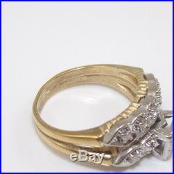 Vintage 10K Yellow White Gold Art Deco Wedding Engagement Band Ring Set 7 GGG
