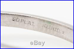 Vintage $10,000 3ct Colombian Emerald Trillion Diamond Platinum Wedding Ring