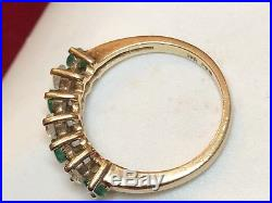 Vintage 10k Gold Genuine Natural Emerald & Topaz Band Ring Wedding Signed Fo