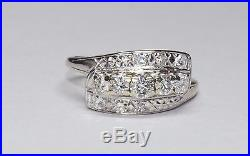 Vintage 14K 1ct Diamond Wedding Set White Gold Round Cut VS/G Bridal Ring NICE