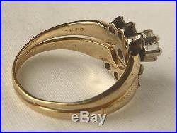 Vintage 14K Gold. 70Ct Diamond Engagement Ring Wedding Bridal Wrap Insert Band
