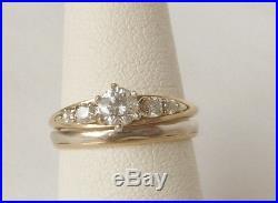 Vintage 14K Gold ARTCARVED Diamond Engagement Ring+Wedding Band Set Dated 1953