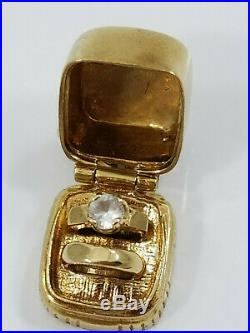 Vintage 14K Gold ENGAGEMENT WEDDING RING BOX Charm OPENS