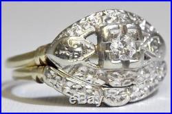 Vintage 14K Solid 2-Tone Yellow & White Gold Unique Floral Wedding Ring Set sz 6