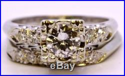 Vintage 14K Solid White Gold Round Diamond Cathedral Wedding Ring Set Size 5.5