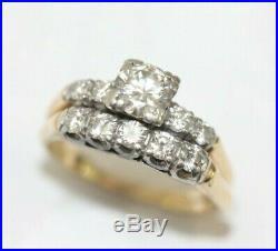 Vintage 14K TWO-TONE GOLD 1.75 Carat DIAMOND 2-Piece Wedding Ring Set SIZE 6.5