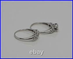 Vintage 14K WG Wedding Engagement Ring Set 1/2ct tw H SI1 Size 6.75 Crica 1950