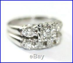 Vintage 14K WHITE GOLD, DIAMOND 2-Piece Wedding Ring Set SIZE 6.25, 3.4 Grams